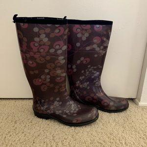 Flowered rain boots